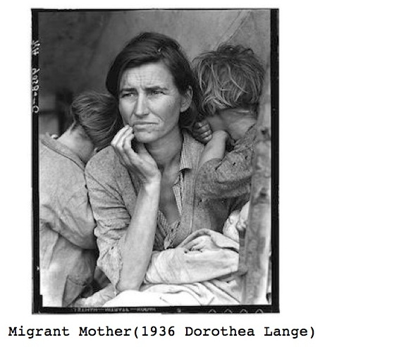 Black and white photo, Migrant Mother(1936 Dorothea Lange) for the ESL lesson, whole-movie for the film, It Happened One Night