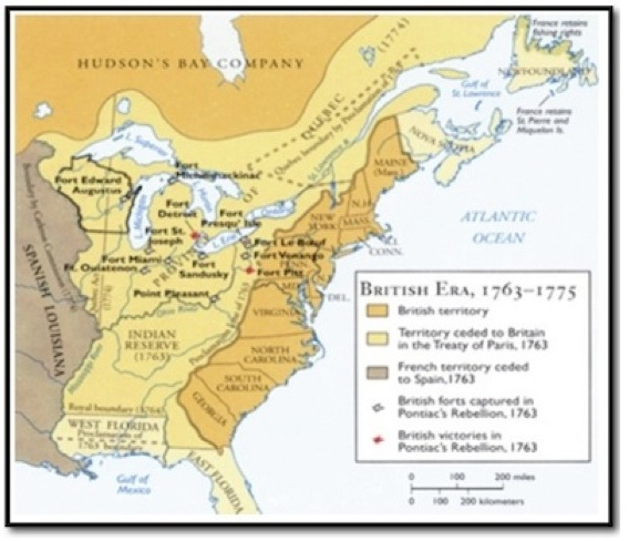 Map of early America for ESL lesson for Last of the Mohicans