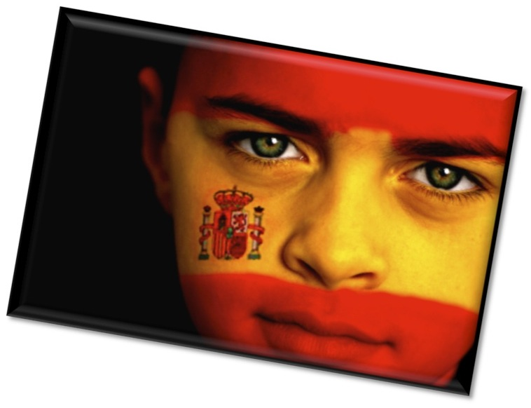 Spain, face with flag