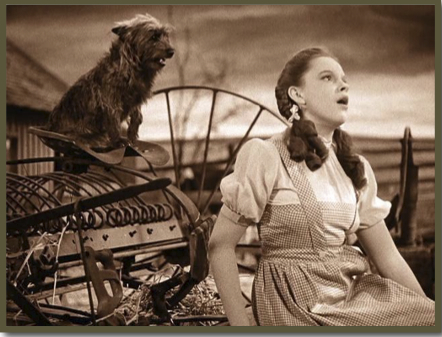 Dorothy and Toto at the farm in Kansas, Wizard of Oz