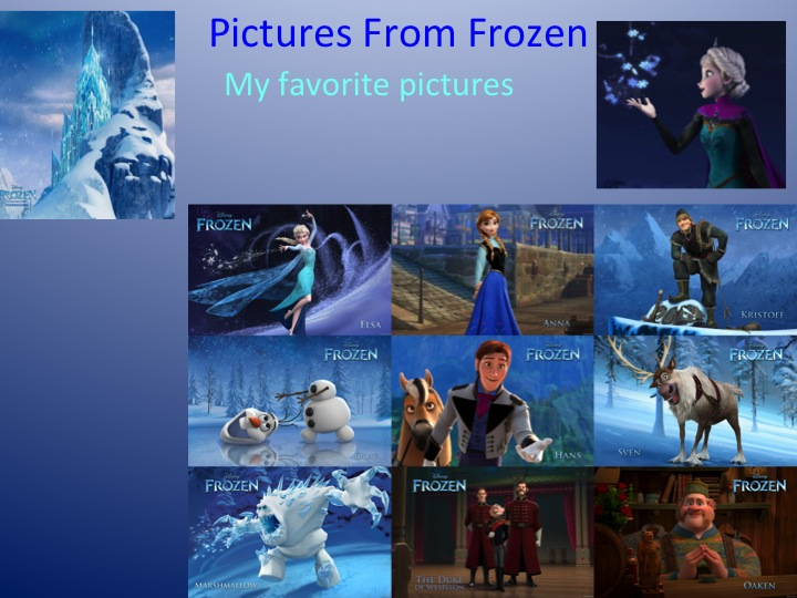 Images form Frozen PowerPoint presentation for the film ESL lesson