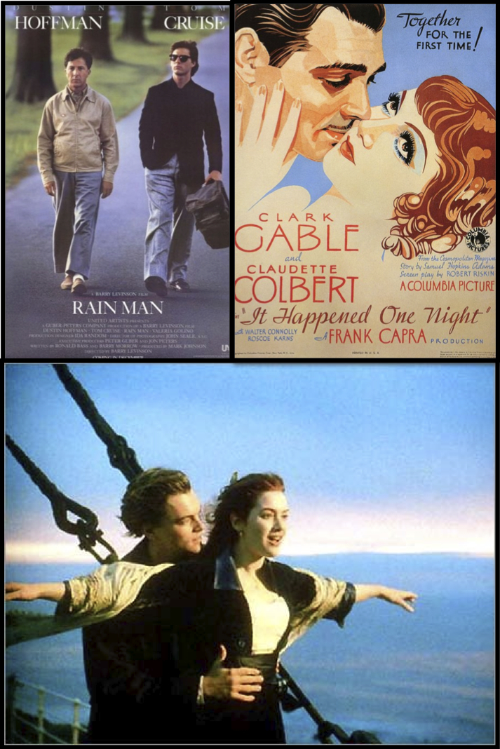 Three movie scenes from romance films for ESL learning