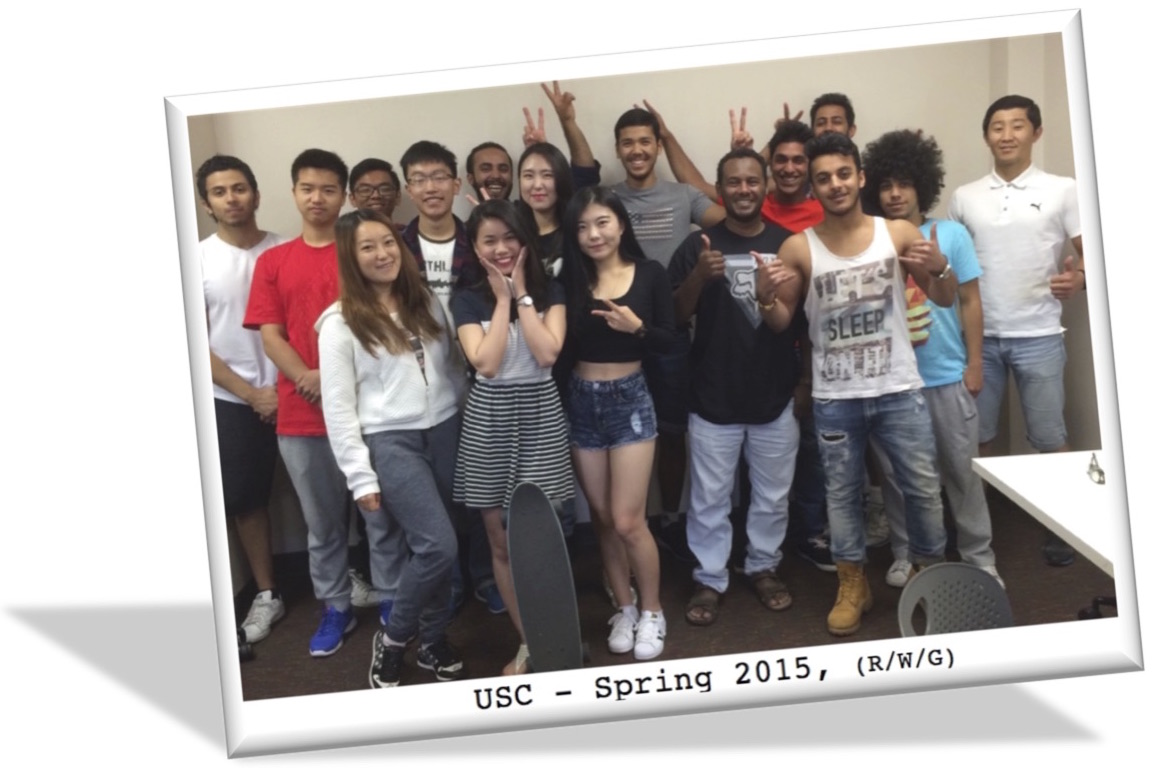 Student portrait from Spring 2015 at USC for Movies Grow English.  ESL lessons using movies. Omar Alanzi, Abdulaziz Aljameel, Mubarak Almudahkah, Hussain Alnakhli, Abdullah Alshamasi, Thamer Alsubie, Suhaib Bashawry, Rayan Fakhri, Minyoung Hong, Liangyu Liu, Zhengis Makhambet, Jihye (Rosie) Mun, Afnan Mushait, Hao Pan, Jiadai Sun, Giang-Le Tran, Dias Tulegenov, Yanjie Zeng.