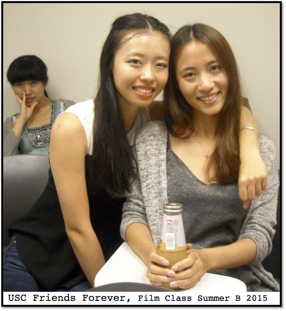 Yanchen (Jackie) Du gets photobombed at USC Film Class by Siyu (Taro) Wei and Haoqiu (Jessica) Lyu, Summer B 2015.