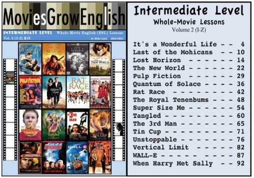 Intermediate-Level ESL textbook cover for whole-movie lessons at Movies Grow English