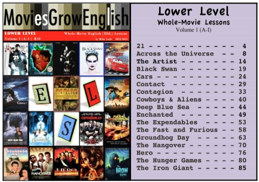 Lower-Level textbook cover page and table of contents for ESL film lessons at Movies Grow English