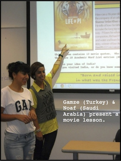 Images of students presenting in a movie class for an ESL movie lesson