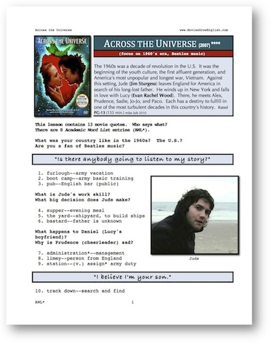 Whole Movie Portal, ESL movie lesson for Across the Universe