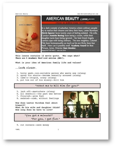 Whole Movie Portal, ESL movie lesson, American Beauty