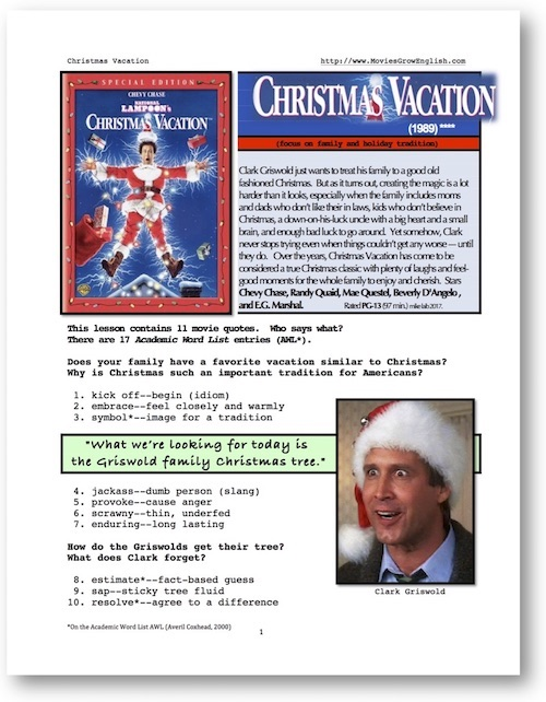 Cover page for Whole-Movie SL lesson for Christmas Vacation at Movies Grow English
