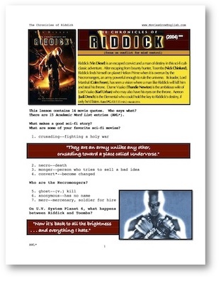 Cover page for whole-movie ESL lesson for Chronicles of Riddick atn Movies Grow English