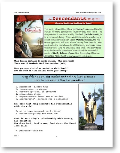 First page of Wholw-Movie Lesson for the Descendants at Movies Grow English