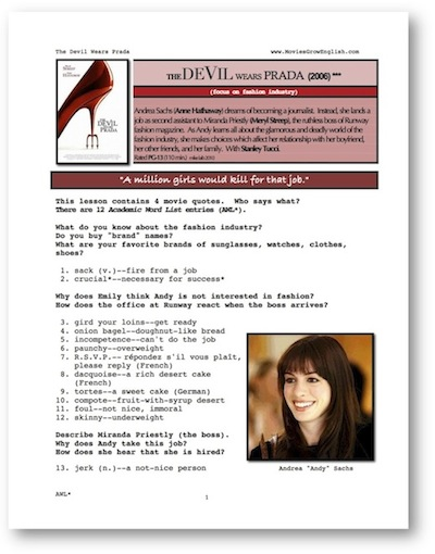 movies grow english esl movie lesson the devil wears prada. Black Bedroom Furniture Sets. Home Design Ideas