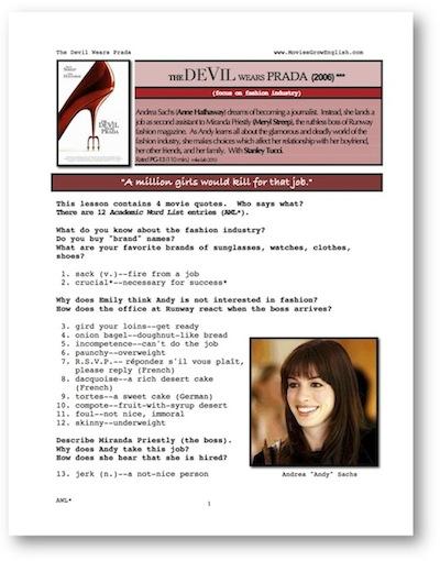 Movies Grow English | ESL Movie Lesson | The Devil Wears Prada