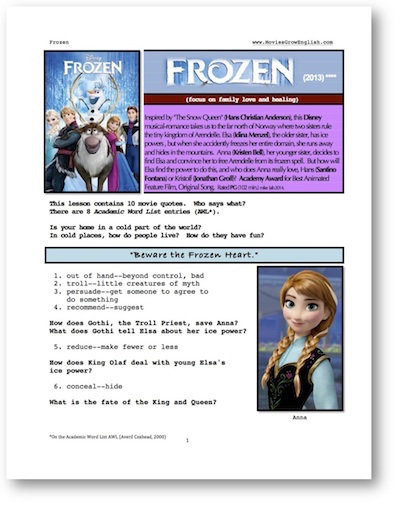 Cover page for  whole-movie ESL lesson for the film, Frozen at Movies Grow English