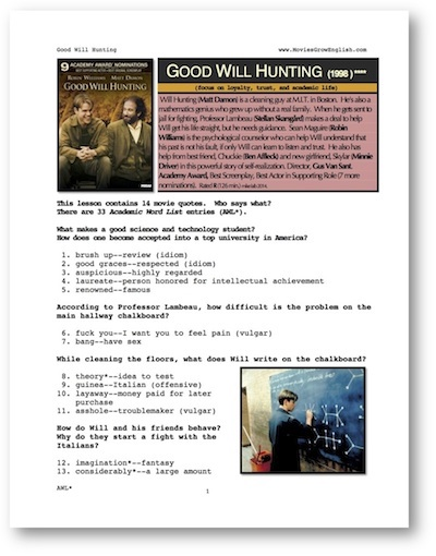 Front page of ESL Whole-Movie ESL lesson for the film, Good Will Hunting