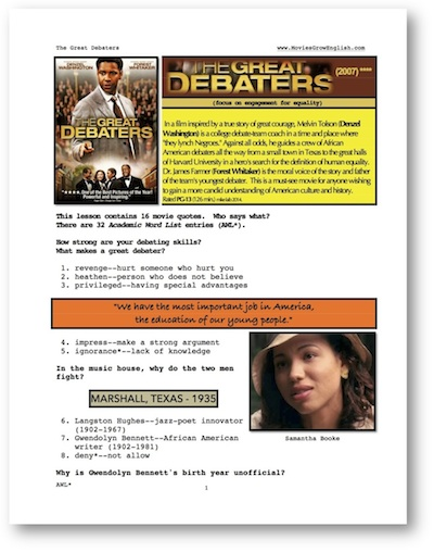 Movies Grow English | Interactive ESL Lessons | The Great Debaters