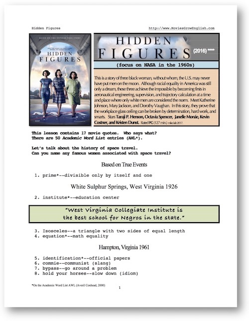 Movies Grow English Esl Lesson Hidden Figures