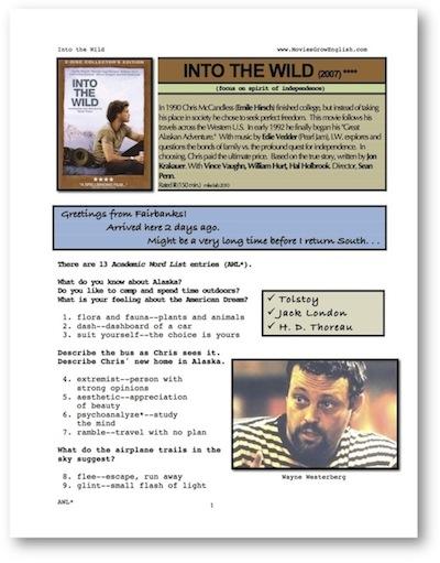 Movies Grow English Esl Movie Lesson Into The Wild