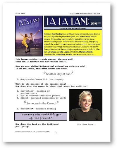 Cover Page for La La Land whole-movie ESL lesson at Movies Grow English