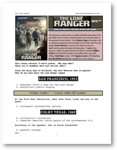 Front page of ESL Whole-Movie ESL lesson for the film, The Lone Ranger