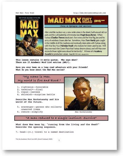 ESL lesson based on Mad Max: Fury Road at Movies Grow English