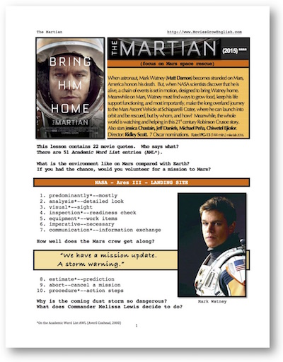 ESL lesson based on The Martian at Movies Grow English