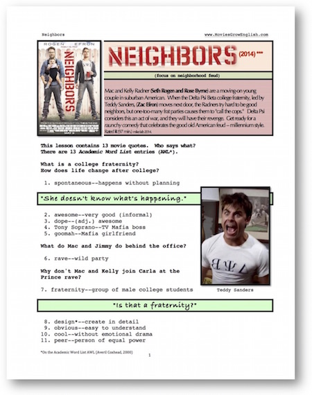 Thumbnail of first page of whole movie ESL lesson for Neighbors starring Seth Rogan