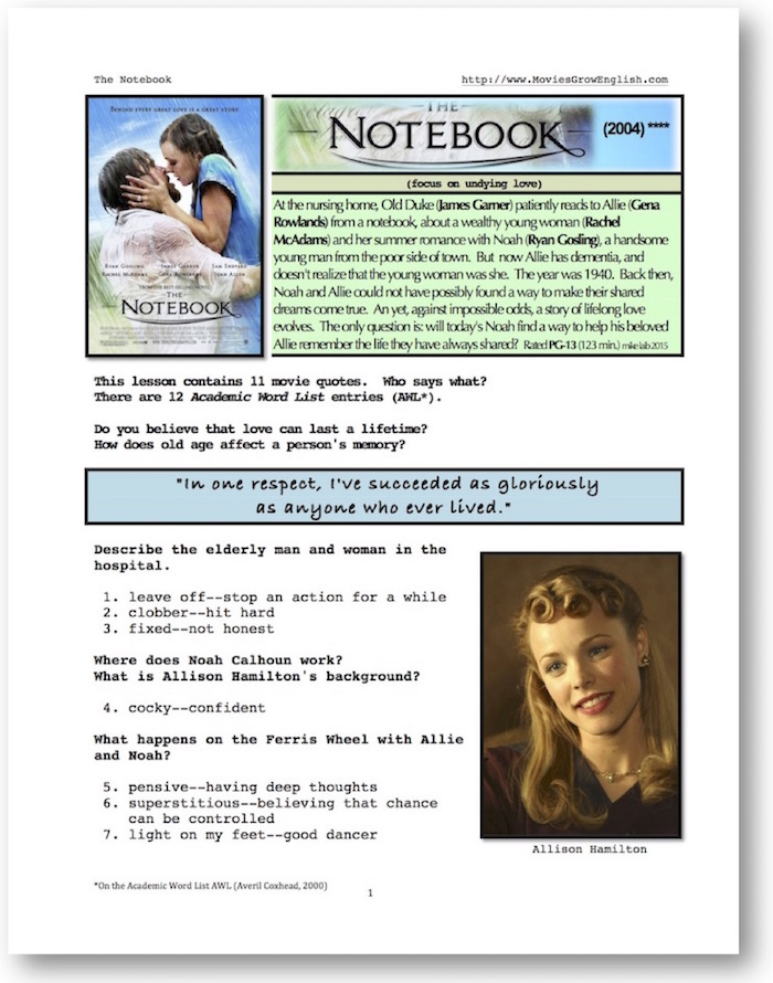 Thumbnail cover page for whole-movie ESL lesson for The Notebook at Movies Grow English