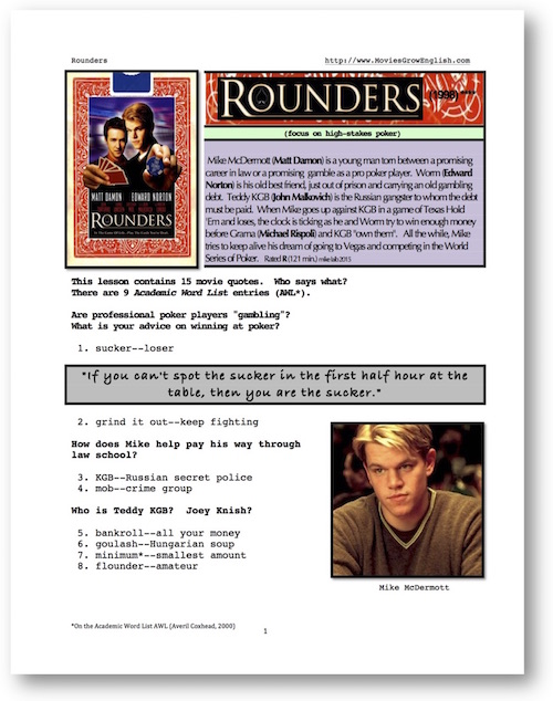 Cover page for ESL Lesson for the film, Rounders at Movies Grow English
