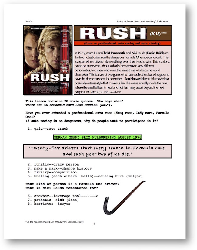 Cover page for the movie, Rush, for whole-movie ESL Lesson at Movies Grow English