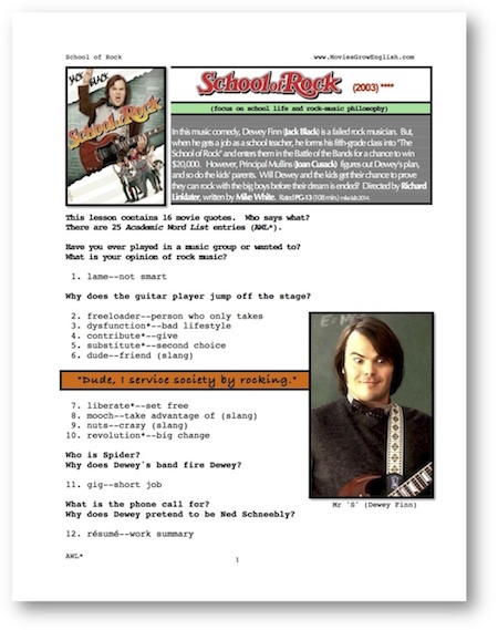 Whole Movie Portal for ESL lesson for School of Rock at Movies Grow English
