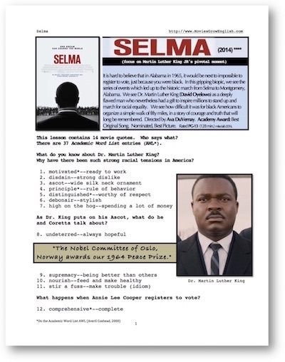 ESL lesson for the whole movie, SELMA at Movies Grow English