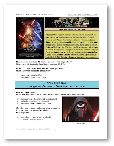 ESL Lesson portal for Star Wars: The Force Awakens at Movies Grow English
