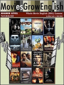 Higher-Level textbook cover for ESL lessons using popular films at Movies Grow English.com