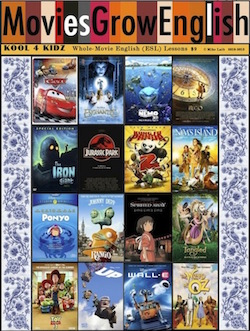 Kool for Kidz book cover, collage of movie lesson covers for ESL film lessons at Movies Grow English
