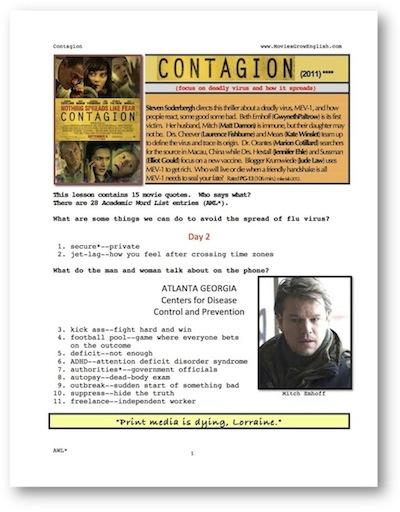 Movies Grow English Esl Movie Lesson Contagion